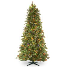 7.5' Tiffany Fir Trees Artificial Christmas Tree with 650 Multi-Colored Lights with Stand