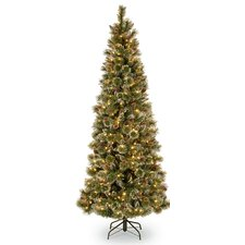 7.5' Glittering Pine Trees Artificial Christmas Tree with 600 LED Colored and White Lights with Stand