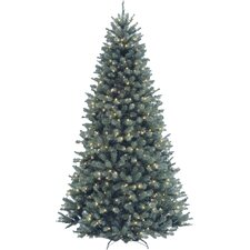 North Valley Spruce 7.5' Blue Artificial Christmas Tree with 700 Clear Lights and Stand