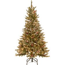 5' Frosted Green Fir Trees Artificial Christmas Tree with 300 LED Colored and White Lights with Stand