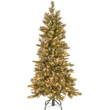 5' Glittering Pine Trees Artificial Christmas Tree with 350 LED Colored and White Lights with Stand