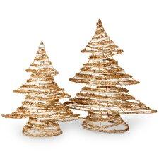 2 Piece Rattan Christmas Tree Set