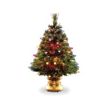 Fiber Optic Ice 3' Green Artificial Christmas Tree with Multi-Colored Lights with Base