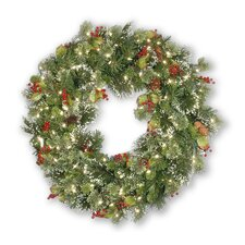 Wintry Pine Pre-Lit Wreath