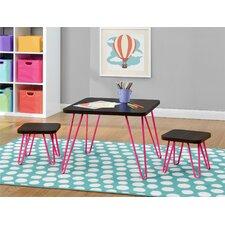 Retro Style Kids 3 Piece Table & Stool Set