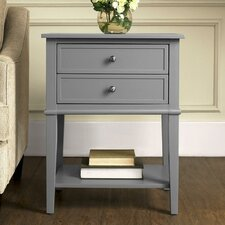 Grey 2 Drawer End Table