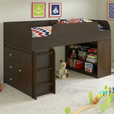 Elements Loft Bed with Bookcase and Storage Organizer