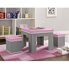 Kids 3 Pieces Square Table and Stool Set