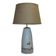 """Birch Wood Knot Painted Ceramic 30"""" Table Lamp"""