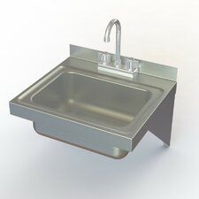 "NSF 17"" x 15"" Single Wall Mounted Hand Sink with Faucet"
