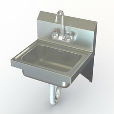 """NSF 17"""" x 15"""" Single Wall Mounted Commercial Hand Sink with Faucet"""