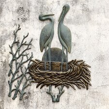 Crane Pair in Nest Wall Décor
