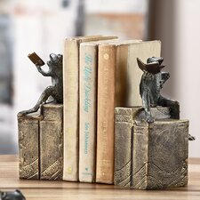 Bibliophile Frogs on Books Book Ends (Set of 2)