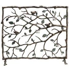 Bird and Branch Aluminum Fireplace Screen