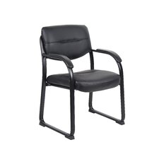 Leather Sled Base Side Chair with Arms