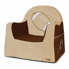 Playful Embroidery Football Kids Foam Chair with Storage Compartment