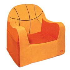 Playful Embroidery Basketball Kids Foam Chair with Storage Compartment