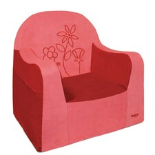 Playful Embroidery Flower Kids Foam Chair with Storage Compartment