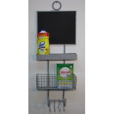 Utility Wall Organizer with 3 Attached Hooks Wall Mounted Chalkboard, 3' H x 1' W