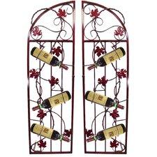 French Vineyard 6 Bottle Floor Wine Rack (Set of 2)