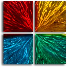 Four Square Colored Ripples 4 Piece Graphic Art Plaque Set