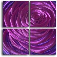 Ensnaring Fushsia Rose 4 Piece Graphic Art Plaque Set