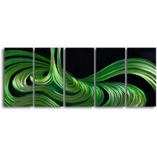 Liquid Sage 5 Piece Graphic Art Plaque Set