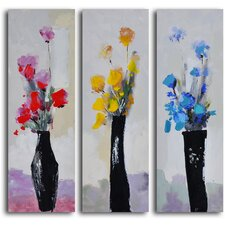 'Trio of Primary Blooms' 3 Piece Original Painting on Wrapped Canvas Set