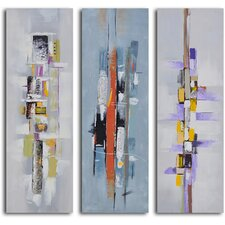 'Urban Abstract Triptych' 3 Piece Original Painting on Wrapped Canvas Set