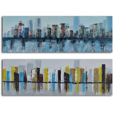 'Duo of Waterlogged City' 2 Piece Original Painting on Wrapped Canvas Set