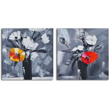 'Time to Bloom' 2 Piece Original Painting on Wrapped Canvas Set