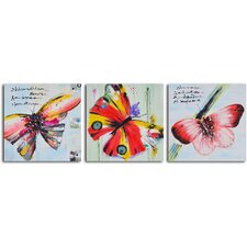 'Poetry of Butterfly Flight' 3 Piece Original Painting on Wrapped Canvas Set