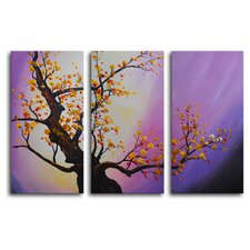 Autumn Leaves, Purple Aura 3 Piece Painting Print on Wrapped Canvas Set
