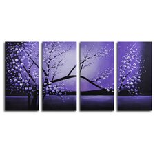 Winter Solstice 4 Piece Print of painting on Canvas Set