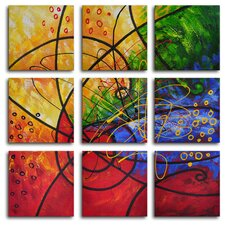 Stained Glass 9 Piece Original Painting on Wrapped Canvas Set