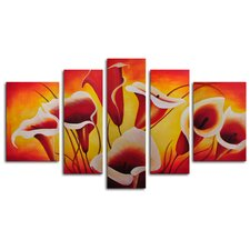 Singing Lilies 5 Piece Original Painting on Canvas Set