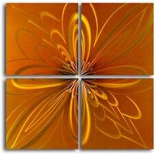 Spirographic Flower on Tiles 4 Piece Graphic Art Plaque Set