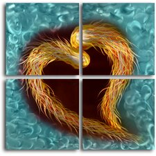 Fire Feathered Heart 4 Piece Graphic Art Plaque Set