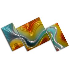 Geometric Colored Ripples 3 Piece Graphic Art Plaque Set
