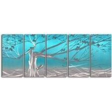 Metallic Asian Tree 5 Piece Graphic Art Plaque Set