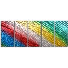 Rainbow Ripples 5 Piece Graphic Art Plaque Set
