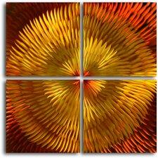 Radiated Dahlia Desire 4 Piece Graphic Art Plaque Set