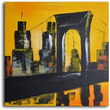 Bridge and Towers Painting Print on Wrapped Canvas