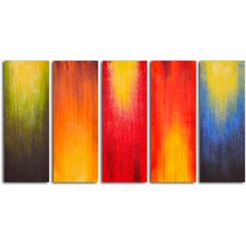 Paintbrush Panels of Color 5 Piece Original Painting on Wrapped Canvas Set