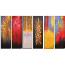 Shades of Fire 6 Piece Original Painting Set on Wrapped Canvas