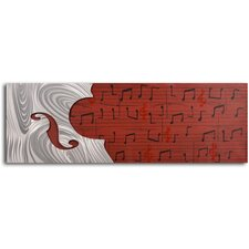 'Cello Form on Red Score' Original Painting on Wrapped Canvas