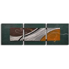 'Metal Foam on Shore' 3 Piece Original Painting on Wrapped Canvas Set