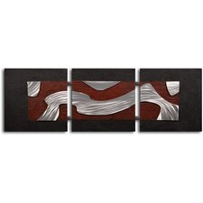 'Metal Stream Through Clay' 3 Piece Original Painting on Wrapped Canvas Set