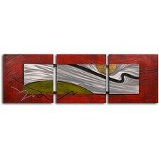 'Tar Stream on Metal' 3 Piece Original Painting on Wrapped Canvas Set