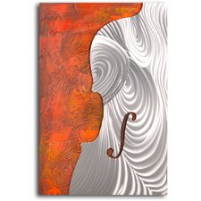 'Metallic Cello Form' Original Painting on Wrapped Canvas